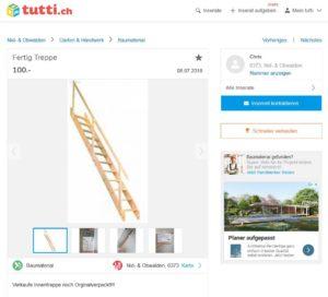 Raumsparholztreppe für 99 Fr. mit Garantie oder für 100 ohne