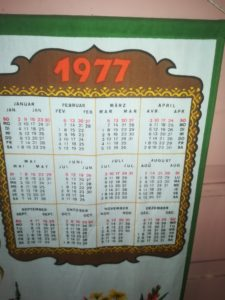 Kalender von 1977 zu verschenken (z. B. als Geburtstageschenk)