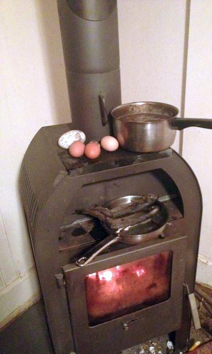 Selbst mit einem kleinen Ofen kann man kochen, ob Fisch, Gänse-Eier, Fasan-Eier oder Hühner-Eier oder vieles andere mehr...