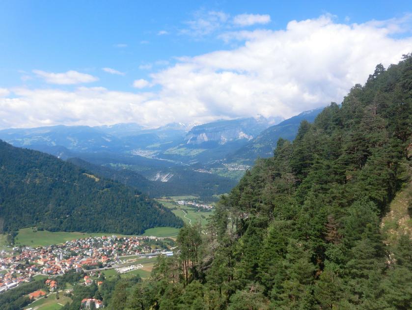 """Gerade der """"Holzkanton"""" Graubünden hat im Überfluß Holz als Brennmaterial und das für nicht-faule Leute sogar gratis in der Regel (Foto: Wald in Feldis bei Rhäzüns)"""