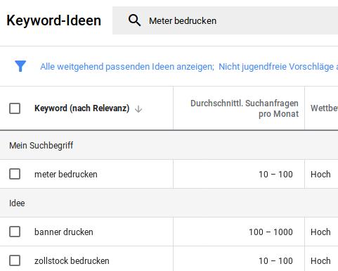 Bild: Google-Schlüsselwort-Suche