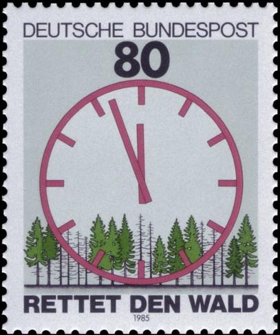 """In den 80er-Jahren, 90er-Jahren bis hin zum Jahr 2000 machten die Lehrer den Schülern Angst, es würde keinen Wald mehr geben, wenn sie groß sind. Heute kämpfen die gleichen Lehrer und Umweltkonzerne gegen sogenannte """"Verwaldung"""" (Bild: Briefmarke der staatlichen Bundespost Deutschlands von damals)"""